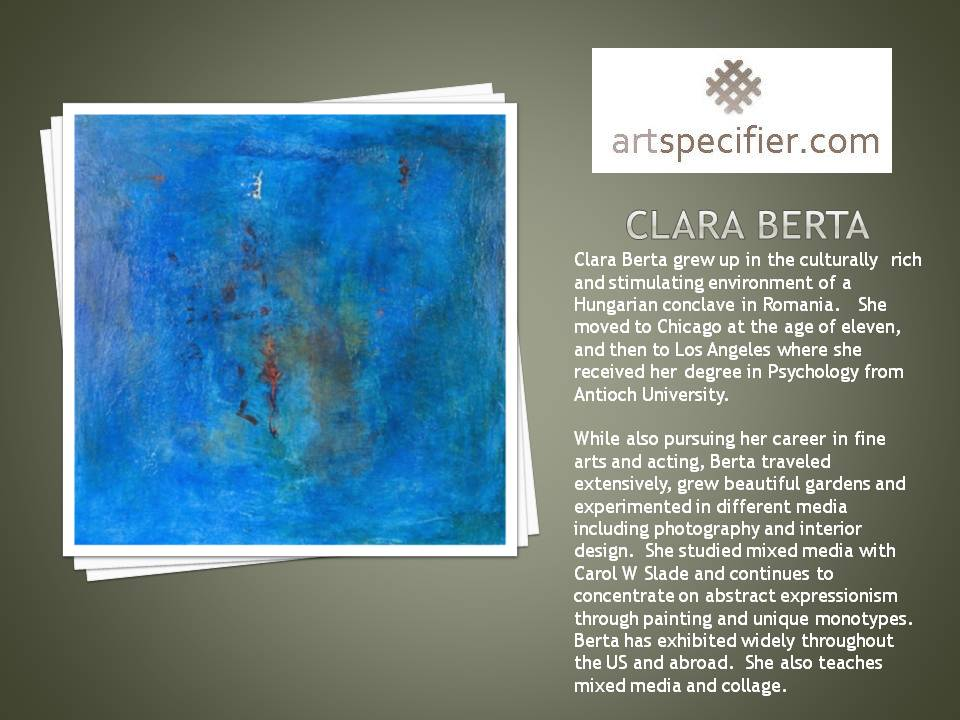 HTTP://WWW.ARTSPECIFIER WELCOMES CLARA BERTA A CHARTER MEMBER AND AN ABSTRACT COLLAGE ARTIST | Clara Berta, mixed media, abstract expressionism,