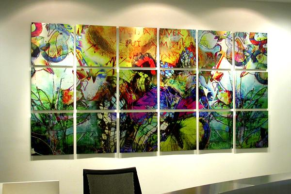 SARAH BUSH CREATES COLORFUL DIGITAL COLLAGES ON METAL, PERFECT FOR PUBLIC SPACES AND HOSPITALS.